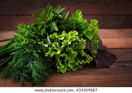 Variety fresh organic herbs (lettuce, arugula, dill, mint, red lettuce and onion) on wooden background in rustic style. - stock photo