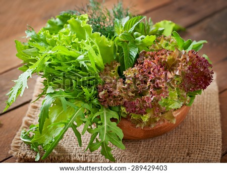 Variety fresh organic herbs (lettuce, arugula, dill, mint, red lettuce) on wooden background in rustic style - stock photo