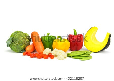 Variety fresh vegetable isolated on white background. - stock photo