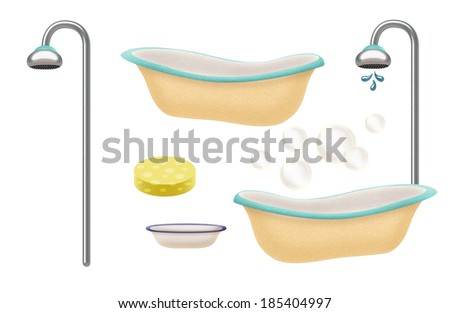 Variety of baby bath time items - stock photo