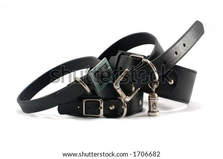 Variety of black leather dog collars - stock photo
