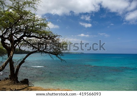 Variety of blue colors to the south of Hapuna, Big Island, Hawaii - stock photo