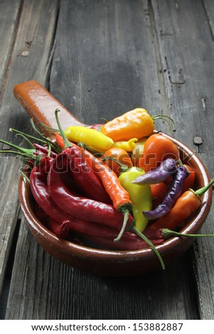 variety of chili peppers - stock photo