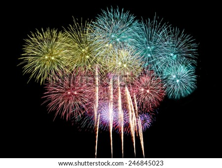 Variety of colors Mix Fireworks or firecracker in the darkness. - stock photo