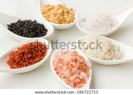Variety of Different sea salts - stock photo