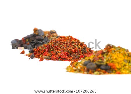Variety of different spices in bowls close up - stock photo