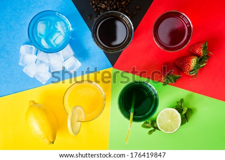 Variety of drinks arranged as five Olympic rings - stock photo