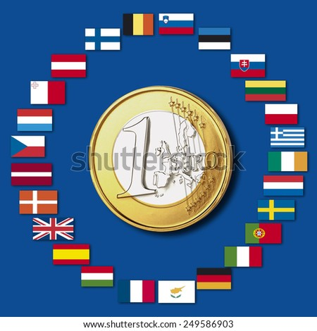Variety of european flags around one euro coin, close up - stock photo