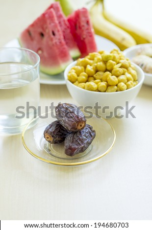 Variety of food consumes during month of Ramadan - stock photo