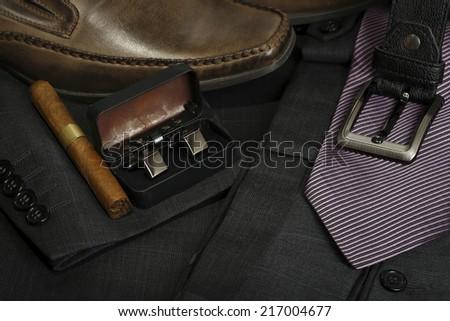 variety of formal men's clothing closeup - stock photo