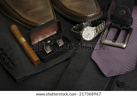 variety of formal men's clothing closeup - stock photo