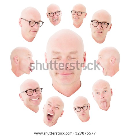 variety of funny expressions of a bald man - stock photo
