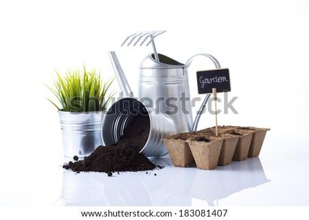variety of garden tools - stock photo