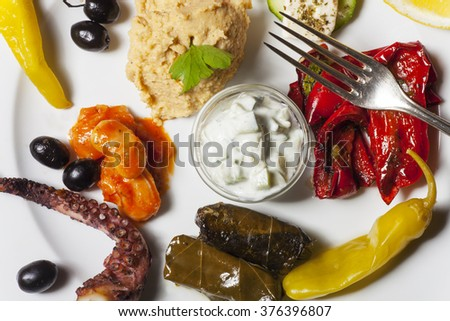 variety of greek appetizers  - stock photo