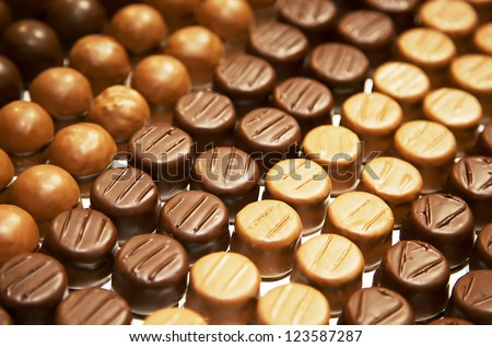 Variety of hand made swiss chocolate - stock photo