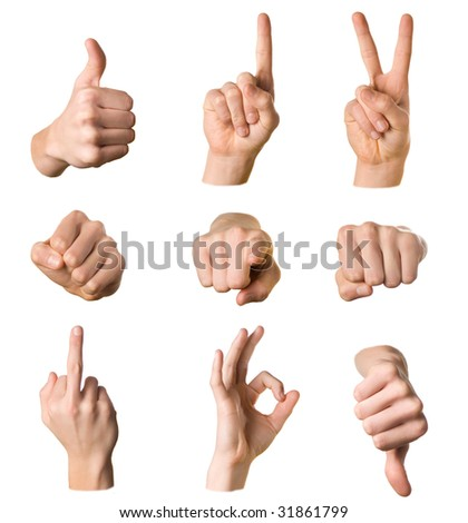 Variety of hands in different poses and signs on white background - stock photo