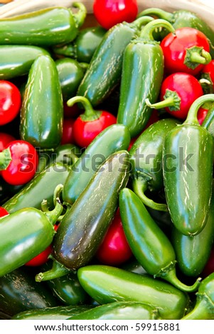 Variety of hot peppers for sale at a local farmer's market - stock photo