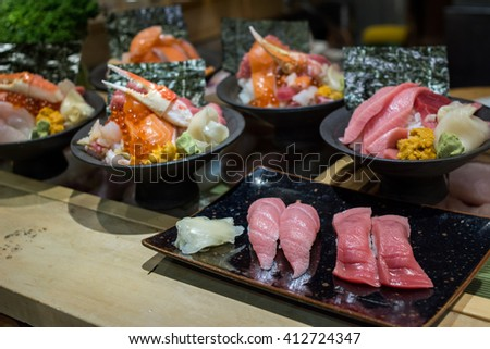 Variety of Japanese food set : Donburi, Sashimi, Sushi for traditional food style in Japan - stock photo