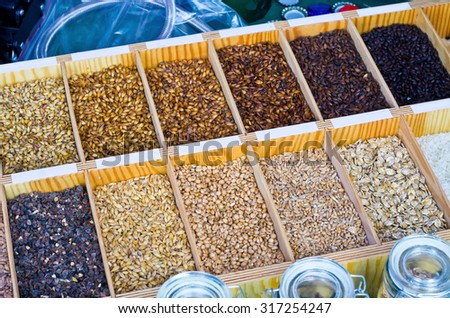 Variety of malt for home brewery - stock photo