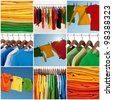 Variety of multicolored casual clothing and colorful laundry. - stock photo