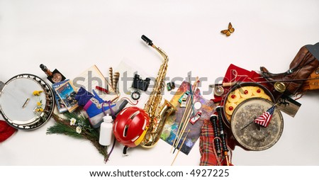 Variety of objects for an outdoor event - stock photo