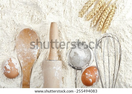 variety of objects on flour surface, baking or flour background - stock photo