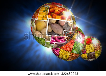 Variety of popular farmers market fruits and vegetables in produce collage globe - stock photo