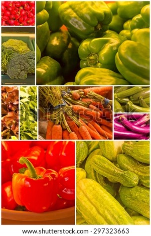 Variety of popular farmers market vegetables in produce collage imagery - stock photo