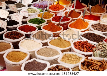 Variety of spices at Anjuna flea market in Goa, India  - stock photo