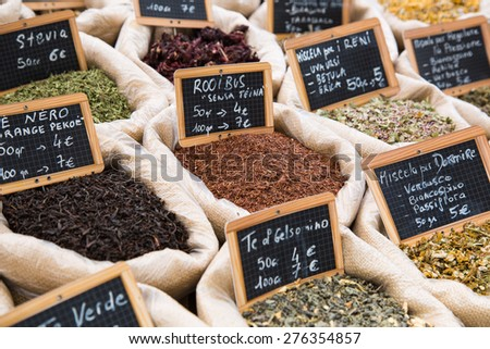 variety of spices for sale in a market in Italy - stock photo