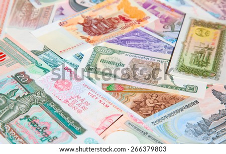Variety of the Asian banknotes - stock photo