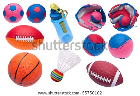Variety of Toy Sports Objects Isolated on White.  Including Soccer Balls, Footballs, Baseballs, Baseball Glove, Shuttlecock, Basketball and Water Bottle. - stock photo