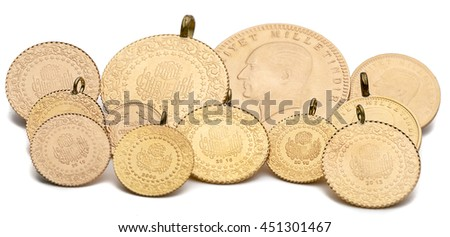 Variety of Turkish Gold Coins Isolated - stock photo