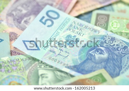 variety of zloty banknotes from poland - stock photo