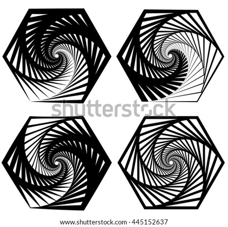Various abstract spiral, vortex effects. Spiral, vortex effect with concentric shapes blended inwards. 4 different version. - stock photo