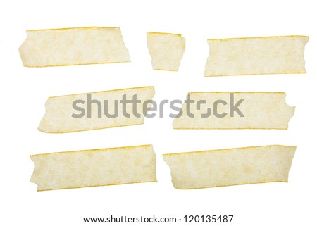 Various adhesive tape pieces on white background. - stock photo