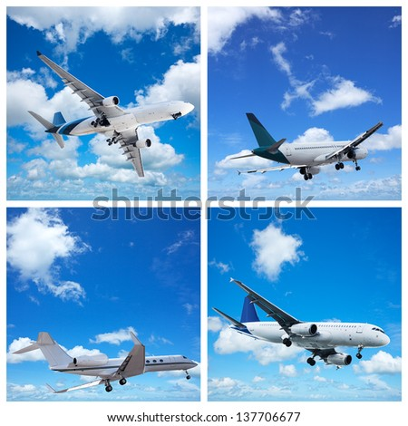 Various aircrafts collection - stock photo