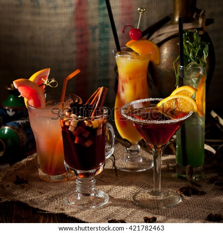 Various Alcoholic Freshness Cocktail - stock photo
