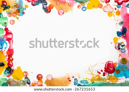 Various artist paint and mess around a page - stock photo