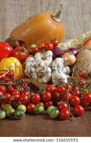 Various assorted organic fresh vegetables from the garden. Selective focus with shallow depth of field. - stock photo