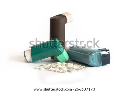 Various Asthma Medications including Inhalers - stock photo