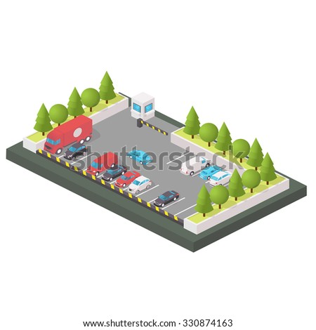 Various Automobiles, Trucks. Isometric Illustration in isometric style. Parking of vehicles. - stock photo