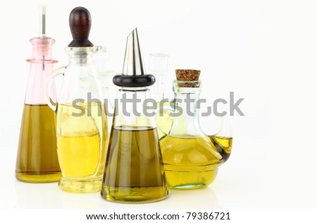 Various bottles of olive oil - stock photo