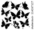 Various butterflies, black silhouettes on white background - stock photo