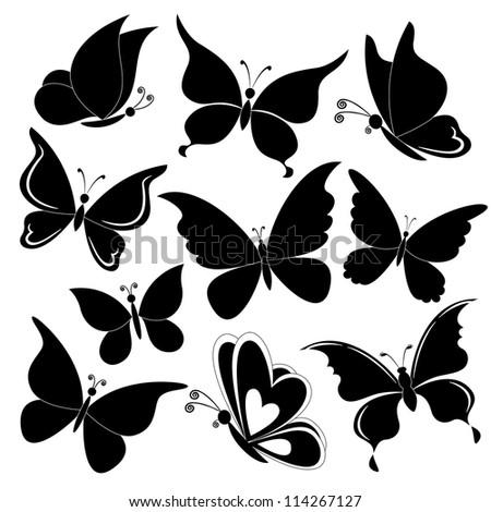 Various butterflies, black silhouettes on white background - stock photo