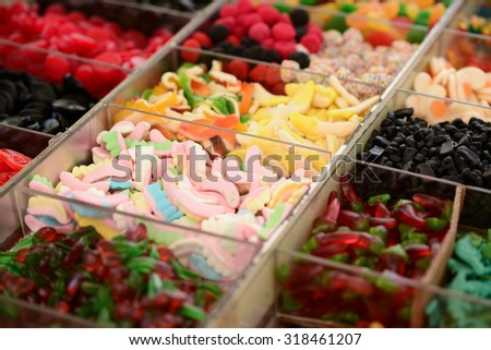 Various candy at market - stock photo