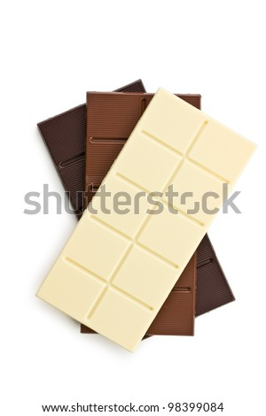 various chocolate bars on white background - stock photo