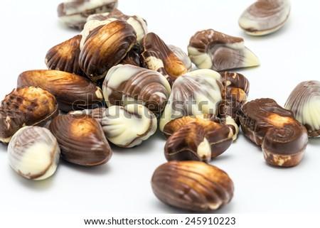 Various chocolates bonbon isolated on white background. - stock photo