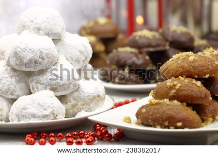 Various Christmas traditional desserts on the table - stock photo