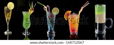 various cocktails at the bar - stock photo